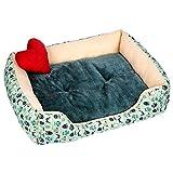 YLAN Cama para Perros, Sofá para Perros, Cama Cómoda para Mascotas, Lavable, práctico, fácil de Limpiar, Dormir para Gatos y PerrosS-Green