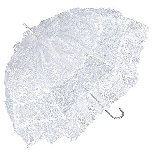 VON LILIENFELD Regenschirm Sonnenschirm Brautschirm Hochzeitsschirm Melissa weiß Rüschen
