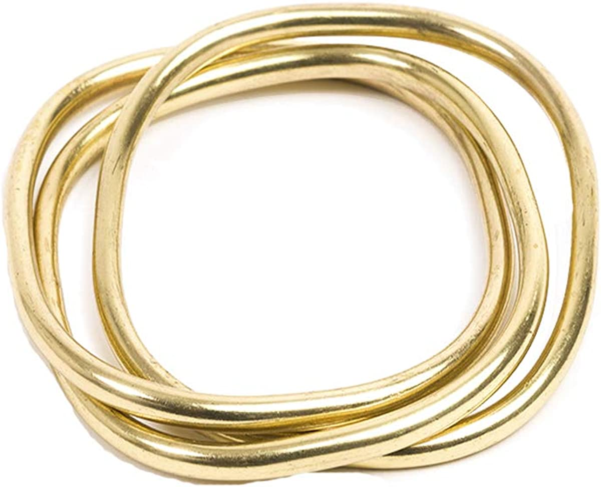 Vestopazzo Women's Bracelet Gold Bangle Squares, 100% Brass golden Plated,2.6 Inches diameter, Hand Made jewelry, designs and crafts in Italy, Nickel tested.