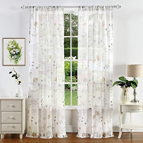 "MARTHA STEWART Marthas Garden Semi-Sheer Rod Pocket Window Curtain Panel Pair, 84"", Gold"