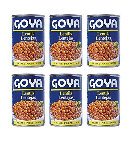 Goya Prime Premium Lentil Beans (6 Pack, Total of 93oz)