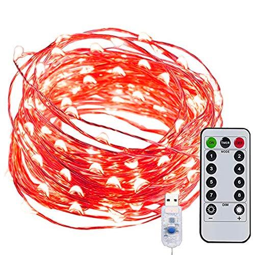 Luces Led Decorativas Guirnaldas Decorativas - RFAIKA Luces de Navidad Control Remoto de Carga USB 8 Modos 10 Metros 100 Luces,6 Colores Para Elegir Guirnalda Luces Navidad Para Decorar Tu Hogar y Jardín, Se Ve Extraordinariamente Hermoso (Rojo)