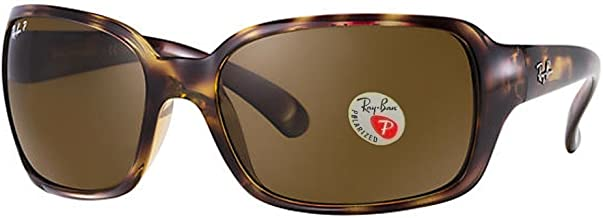 Ray-Ban Women's 4068 Oversized Wrap Sunglasses (Dark Havana Frame Polarized Solid Black Lens) Ê