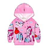Fille Pull Licorne Imprimé Sweat a Capuche Zipper Manteau Veste Vêtements Rose Cadeau pour Enfants, 09 Licorne Rose, 3-4 ans