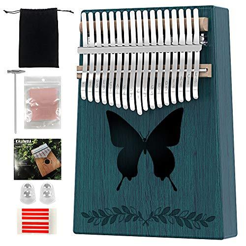 Kalimba 17 Teclas Pulgar Piano Marimbas Madera Maciza Instrumento africano Mbira Finger Piano Con bolsa protectora la lección en línea para adulto niños (Azul1)