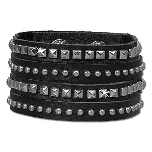 SilberDream Nieten-Lederarmband schwarz mit eckigen und runden Mini-Nieten für Damen Leder Armband Echtleder LAP512S