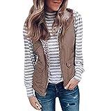 Xmiral Weste Mantel Damen Einfarbig Zweiseitige Taschenweste Jacke mit Reißverschluss ärmellose Pullover Bluse(Khaki,S)