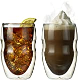 Ozeri Serafino Double Wall Insulated Beverage and Coffee Glasses, 12-Ounce, Set of 2