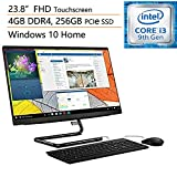 "Lenovo IdeaCentre A340 23.8"" FHD Touchscreen All-in-One AIO Desktop Computer, Intel Quad-Core i3-9100T (Beats i5-7400t), 4GB DDR4, 256GB PCIe SSD, DVDRW, Windows 10, iPuzzle Mouse Pad"