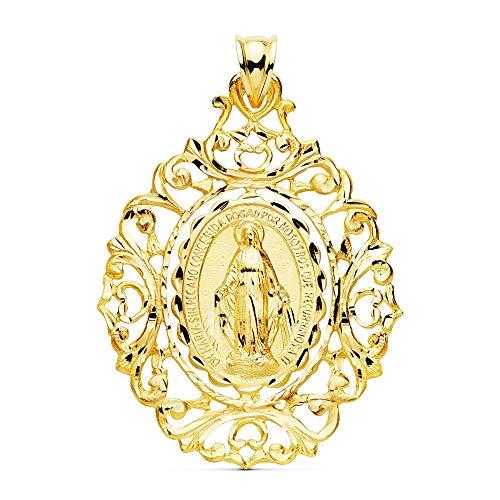 Medalla oro 18k Virgen Milagrosa 46mm. borde motivos tallados unisex