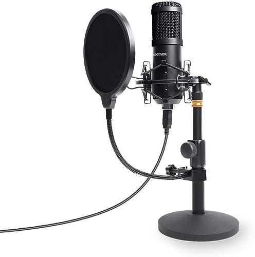 Sudotack ST810 Micro USB professionnel avec condensateur cardioïde, carte son, bras pour montage et filtre anti-bruit...