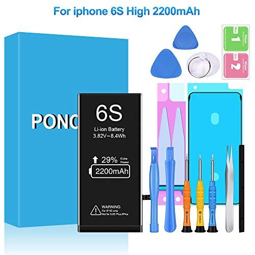 Akku für iPhone 6S 2200mAh, Ponoser Ersatzakku hohe Kapazität mit 29% mehr iPhone Batterie mit Werkzeugset und Reparaturset Akku-Austausch Anleitung, 24 Monate Gewährleistung