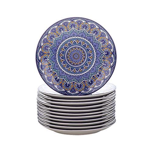 vancasso Serie Mandala Vajillas de 12 Piezas Platos Llanos de Porcelana Pintado a Mano Plato Redondo Color Azul
