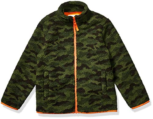 Amazon Essentials Kids Boys Polar Fleece Lined Sherpa Full-Zip Jackets, Camo Print, Small