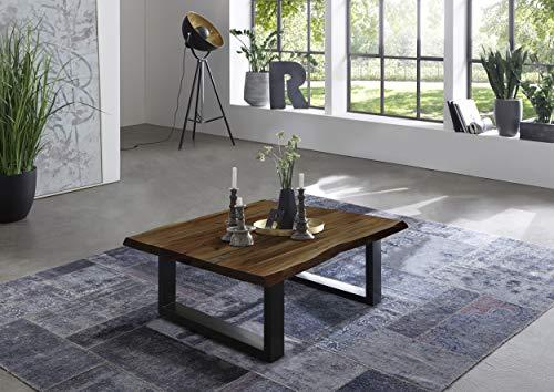 SAM Couchtisch 80 x 80 cm Quintus, echte Baumkante, massiver Beistelltisch aus Akazienholz, nussbaumfarben, Metallgestell schwarz