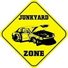 Liz66Ward Junkyard Zone Aluminum Corssing Sign Caution Signs Funny Metal Animal Crossing Wall Art Decor 12x12 Novelty Gifts Sign