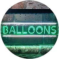 Balloons Decoration Illuminated Dual Color LED看板 ネオンプレート サイン 標識 白色 + 緑色 400 x 300mm st6s43-i0286-wg