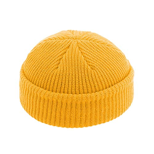 Winter Warm Beanies Casual Short Thread Hip Hop Hat Adult Men Beanie Female Knitted Beanie SkullCap Elastic Hats Unisex -Yellow-Free