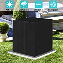 ZNCMRR Square Central Air Conditioner Cover, Durable Waterproof Winter Heavy Duty Outdoor Air Conditioner Cover with Vent (Black, 24