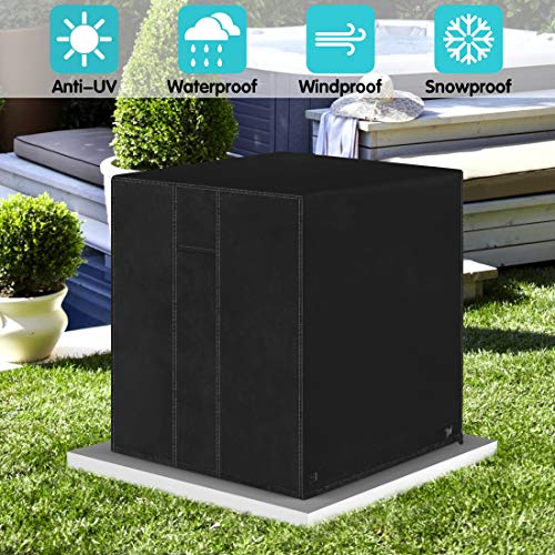 ZNCMRR Square Central Air Conditioner Cover, Durable Waterproof Winter Heavy Duty Outdoor Air Conditioner Cover with Vent (Black, 24' x 24' x 30')