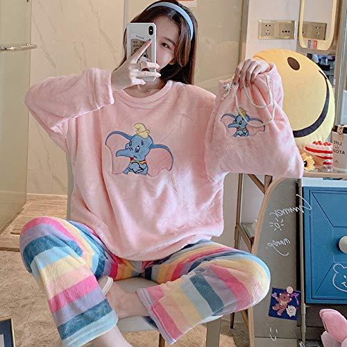 Conjunto De Pijamas Para Mujeres,Elefante Lindo Rosa Invierno Grueso Caliente Franela Ropa De Dormir Más Tamaño Homewear Manga Larga Tops Arco Iris Pantalones Pajamas Conjuntos Ropa De Noche Femenin
