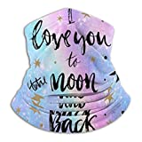 I Love You Moon Rainbow Stars Unisex Al Aire Libre Headwear Fleeceneck Warmer Cómodo Cuello Polaín Warmerface Protection Bufanda de Invierno para Clima frío Deportes de Invierno al Aire Libre