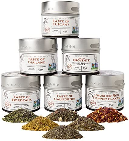 Salt Free Gourmet Seasoning Collection Non GMO 6 Magnetic Tins Small Batch Spice Blends product image
