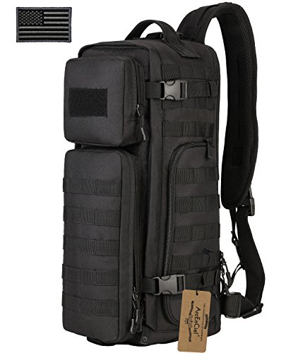 ArcEnCiel Tactical Sling Pack Military Molle Chest Crossbody Shoulder Bags Motorcycle Bicycle Assault Range Diaper Day Backpack With Patch (Black)