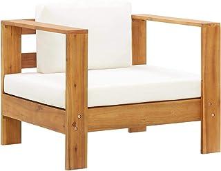 vidaXL Madera Maciza de Acacia Silla de Jardín con Cojín Asientos Butacas Sofás Muebles de Exterior Patio Terraza Balcón Almohada del Respaldo Crema