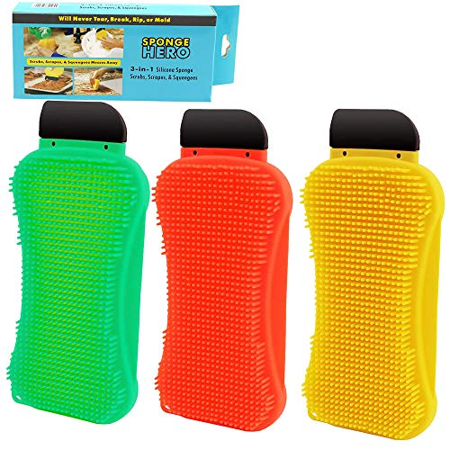 Silicone Sponge,3-in-1 Multi-Functional Cleaning Sponge Built-in Soap Scrubber Scraper Clean Brush for Kitchen Dishes Bathroom Car Wash Cleaning (3 Pcs,Yellow,Green,Red)