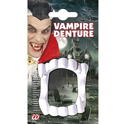 Widmann 8402D - Vampirgebiss, weiß, falsche Zähne, Gebiss, Blutsauger, Vampir, Motto Party, Halloween, Karneval