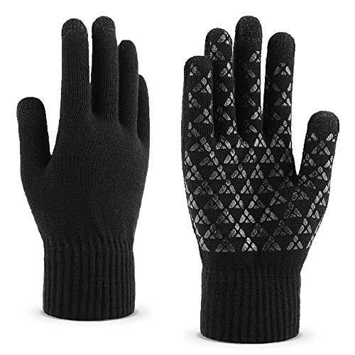 Richaa Mann gestrickter Touch Screen Handschuhe, Winter Warm Touchscreen Knitting Triangle Anti-Rutsch-Handschuhe Geeignet zum Telefonieren SMS und Spielen (Schwarz)