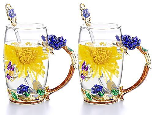 COAWG Glasteetasse, Chrysanthemenblüten-Teetassen Becher aus Kristallglas mit Blumengriff, Thanksgiving Valentinstag Weihnachten Geschenk für Lehrer Mama Freunde - 2Pcs