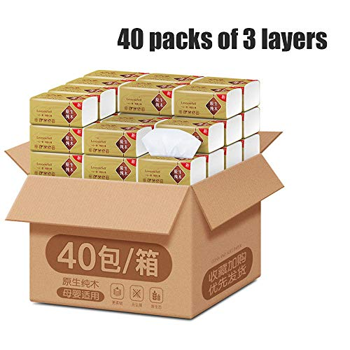 Huishoudelijke Sanitair Tissue pompen, 3 lagen Verdikte Inloggen Pumping Tissue papieren servetten (40 Packs)
