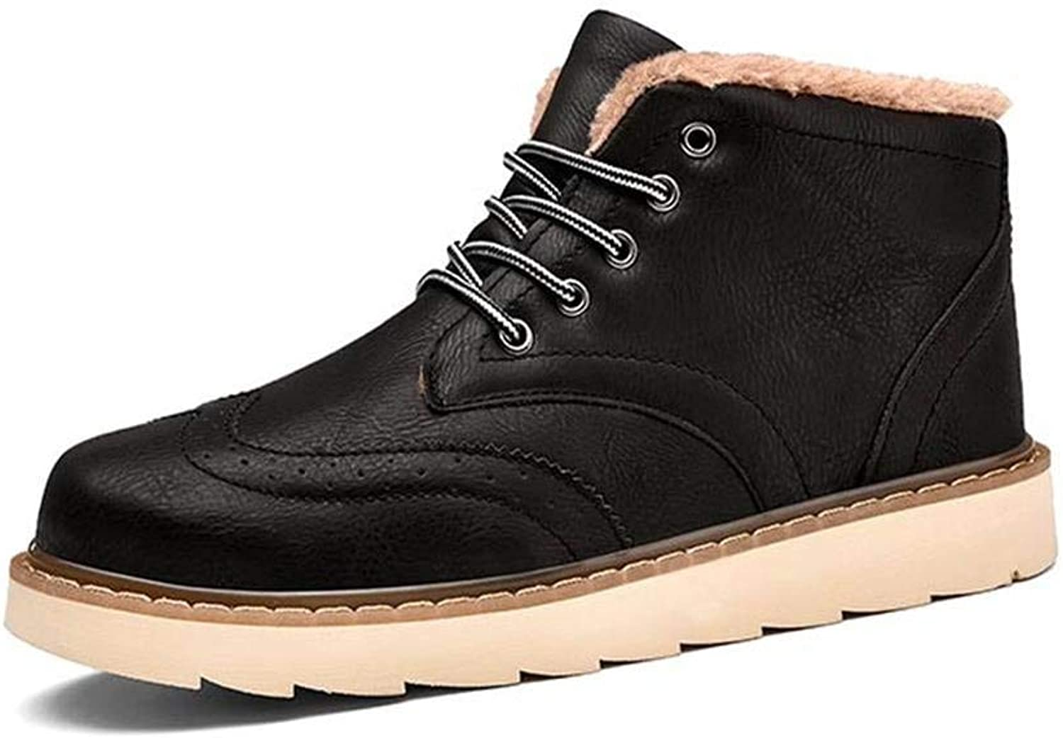 FuweiEncore Winter men's high boots with high fashion boots with boots plus size (color   39, Size   Black)