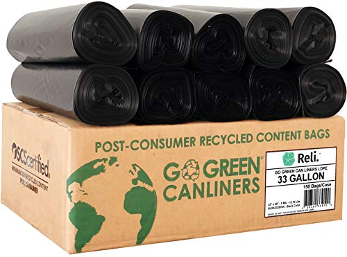 Reli. Eco-Friendly 33 Gallon Trash Bags (150 Count Black) Recyclable Garbage Bags 33 Gallon - Made in USA / Made from Recycled Material - Black 30 Gallon - 35 Gal Large Capacity (30 Gal - 35 Gal)