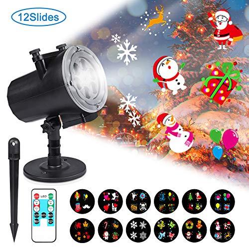 Reteck LED Projektionslampe, 12 Wechselbaren Musters, mit Fernbedienung, IP44 Wasserdicht geeignet für innen/außen, Geeignet für Weihnachten Licht,Party Licht und Gartenlicht