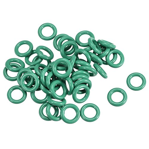 Juntas tóricas de goma fluorada de 9 mm OD 5,2 mm ID 1,9 mm de ancho - Juntas de sellado FKM para fontanería de máquinas, color verde, paquete de 50