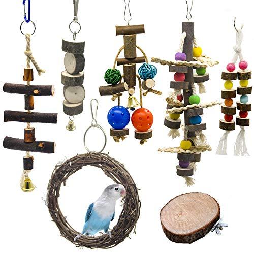 Juguetes para Masticar Loros, 7 Piezas Juguetes para Pájaros Accesorios, Juguete Colgante para Mascotas con Campanas, Columpios, Juguete de Masticación para Pequeños y Medianos Loros de Aves