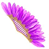 Abaodam Tocado de plumas de moda india fiesta de Halloween pluma tocado carnaval fiesta banda de pelo danza rendimiento espectáculo tamaño medio accesorios para el cabello púrpura oscuro