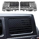 JeCar Hardtop Window USA Distressed Flag Decals Vinyl American Flag Stickers for Jeep Wrangler 2018-2021 JLU 4 Door, 1 Pair
