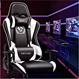 CRYfog Gaming Chair, PC Gaming Computer Chair Office Gamer Chair with Lumbar Support Black White Ergonomic Backrest and Seat Height Adjustment Recliner Swivel Chair