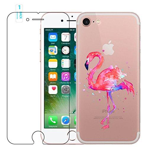 Preisvergleich Produktbild iPhone 7 / iPhone 8 Hülle mit Panzerglas,  Blossom01 Cute Funny Kreative Flamingo Transparent Silikon Bumper für iPhone 7 2016 / iPhone 8 2017