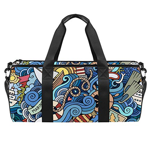 Cartoon Marine Style Wave Wheel Pattern Sports Gym Bag Cylindrical Travel Duffel bag with Wet Pocket Lightweight workout bag Travel with Shoulder Strap for men women