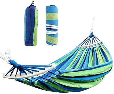 Cotton Outdoor Hammock Swing - Flipcase Double Hammocks with Spreader Bar, Portable Camping Hammock for Patio Yard Garden Tree Beach