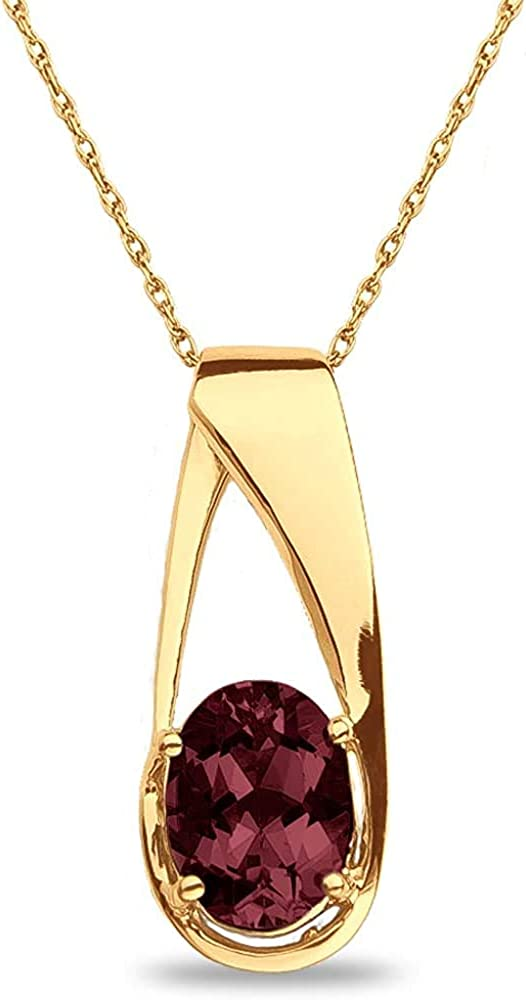 The Diamond Deal Lab Created Oval Gemstone Birthstone Necklace Pendant Charm 10k REAL White OR Yellow Gold 18 inch 10k Gold Chain (Choose your Birthstone)