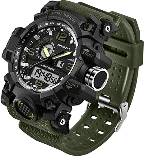 Mens Watches Tactical Watch Digital Tact Military Sport Stopwatch for Running Dual Time Army Wristwatch, LED Back Light Calendar Day Date 12H/24H