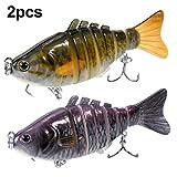 WEONE 2piezas Señuelos de Pesca Articulados Cebos de Pescar, 7 segmentos / 10cm / 4'/15.5g, para Calamar Lubina Río Mar