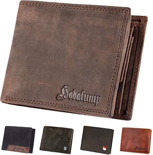 Hodalump Echt-Leder Geldbörse • Geldbeutel für Damen und Herren mit RFID-Schutz • Portmonee inkl. Geschenkverpackung • Farbe: Braun mit Hodalump Prägung