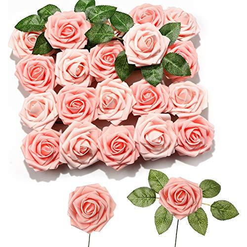 PartyWoo Künstliche Rosen, 20 Stück Kunstblumen, Künstliche Blumen, Deko Blumen, Schaumrosen, Kunstblumen Deko, Kunstblume für Geburtstagsdeko, Hochzeitsdeko, Party Deko (Rosa)